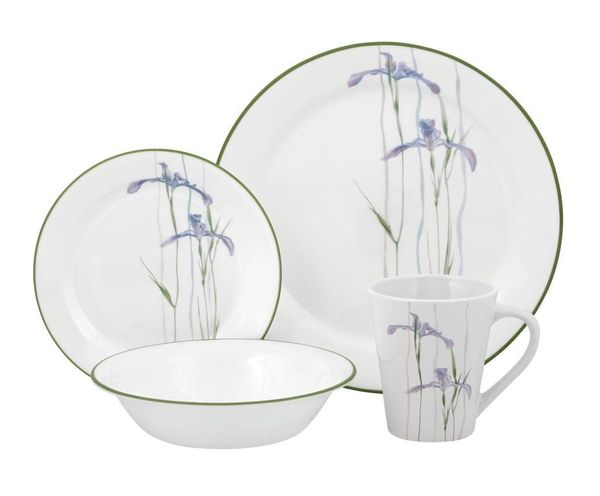 corelle livingware shadow iris 16 pc dinner set
