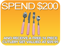 Spend $200 and Receive Free Shipping and a Free Cutlery Set