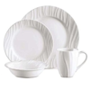 Corelle Dinner Set 16 Piece Boutique Swept Embossed Round White
