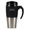 THERMOS SPECIALS : 450ML STAINLESS STEEL INNER, SOFT FEEL OUTER TRAVEL MUG - BLACK