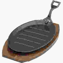 STEAK SIZZLER (CAST IRON ; 290 x 180 mm ;BLACK HAMMERSTONE with handle)