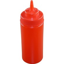 SQUEEZE BOTTLE (WIDE MOUTH ; 480 ml / 16 oz ; RED)