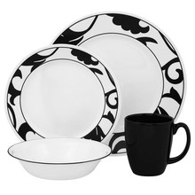 CORELLE  LIVINGWARE - VIVE NOIR 16 PC DINNER SET