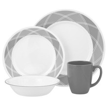 CORELLE  LIVINGWARE - SAVVY SHADES GREY 16 PC DINNER SET