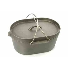 CAST IRON OVAL CAMP OVEN with LIPPED LID ( 9.5 QT ; 13 cm )
