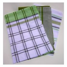 3x Tea Towel Pack - 100% Cotton - Green