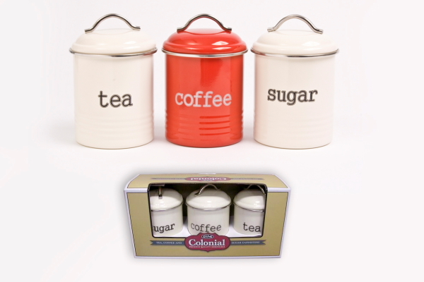 kitchen canisters australia d line storage metal set 3 canisters tea coffee sugar 1 12960